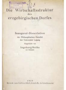 Titelblatt der gedruckten Doktorarbeit von Ingeborg Rothe, 1938
