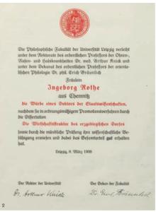 Promotionsurkunde von Ingeborg Rothe, 1938