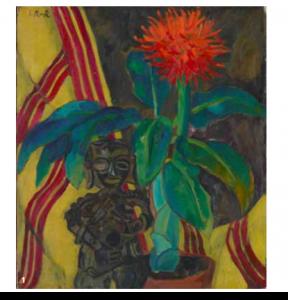 Irene Rüther-Rabinowicz, Afrikanische Blutblume mit mexikanischer Figur, undatiert, Öl auf Leinwand
