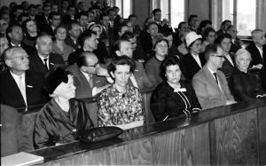 Gedenkfeier der TU Dresden anlässlich des 25. Todestages des Vaters von Friederike Trefftz, Prof. Erich Trefftz (1888–1937), 2. Juni 1962