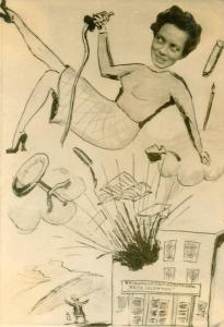 Karikatur zu Ingrid von Reyher aus einer studentischen Semesterzeitung, 1956
